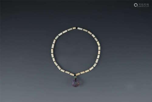 漢代 紫水晶項鏈 白玉項鏈 帶木盒