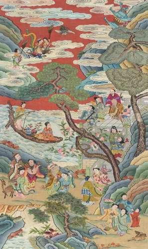 19世纪 缂丝 红地群仙祝寿图
