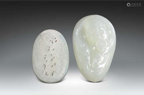 清·白玉雕彌勒佛、白玉雕花卉紋玩件一組兩件