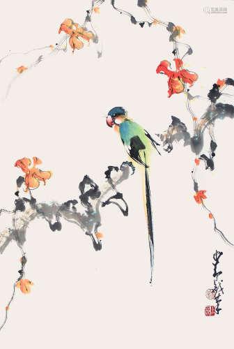 趙少昂  紅葉綠鸚鵡