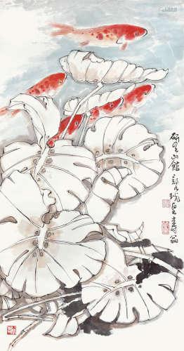 鄭乃珖  荷塘魚樂圖