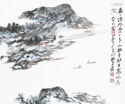 张大千 - 青山放艇图