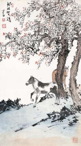 溥心畬 - 枫林双骏
