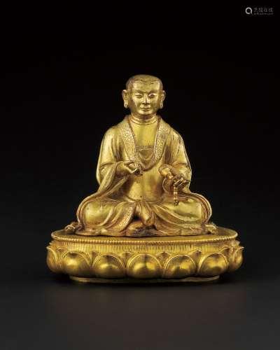 17世纪 铜鎏金罗汉