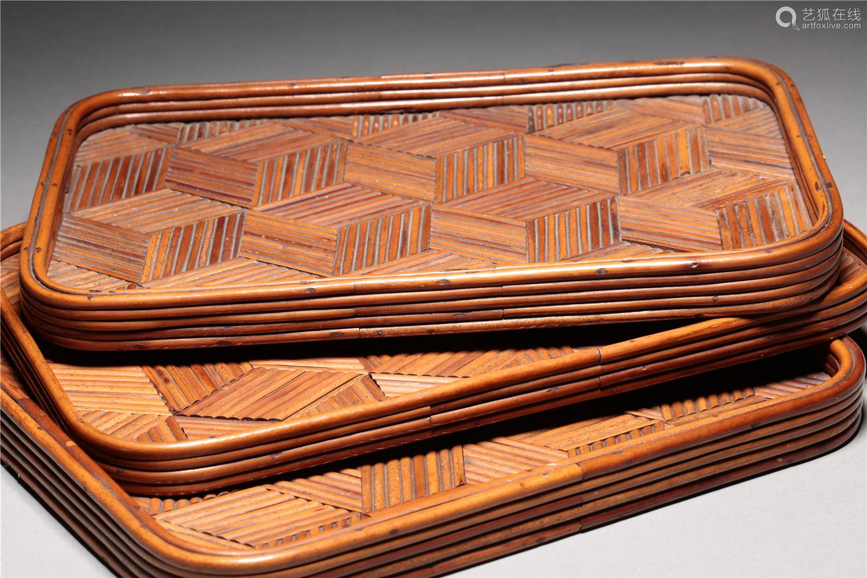 近代 竹制茶盘 (一组三件)