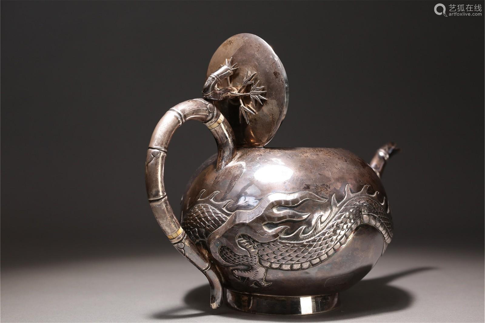 19世纪 纯银云龙竹节纹执壶