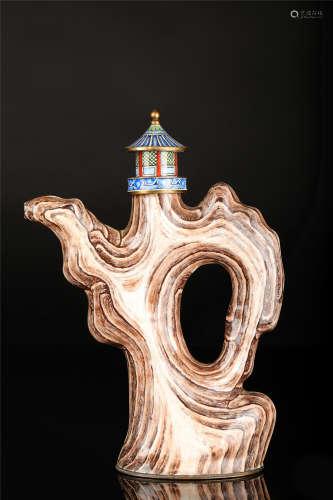 民国 铜胎画珐琅仿山石形壶