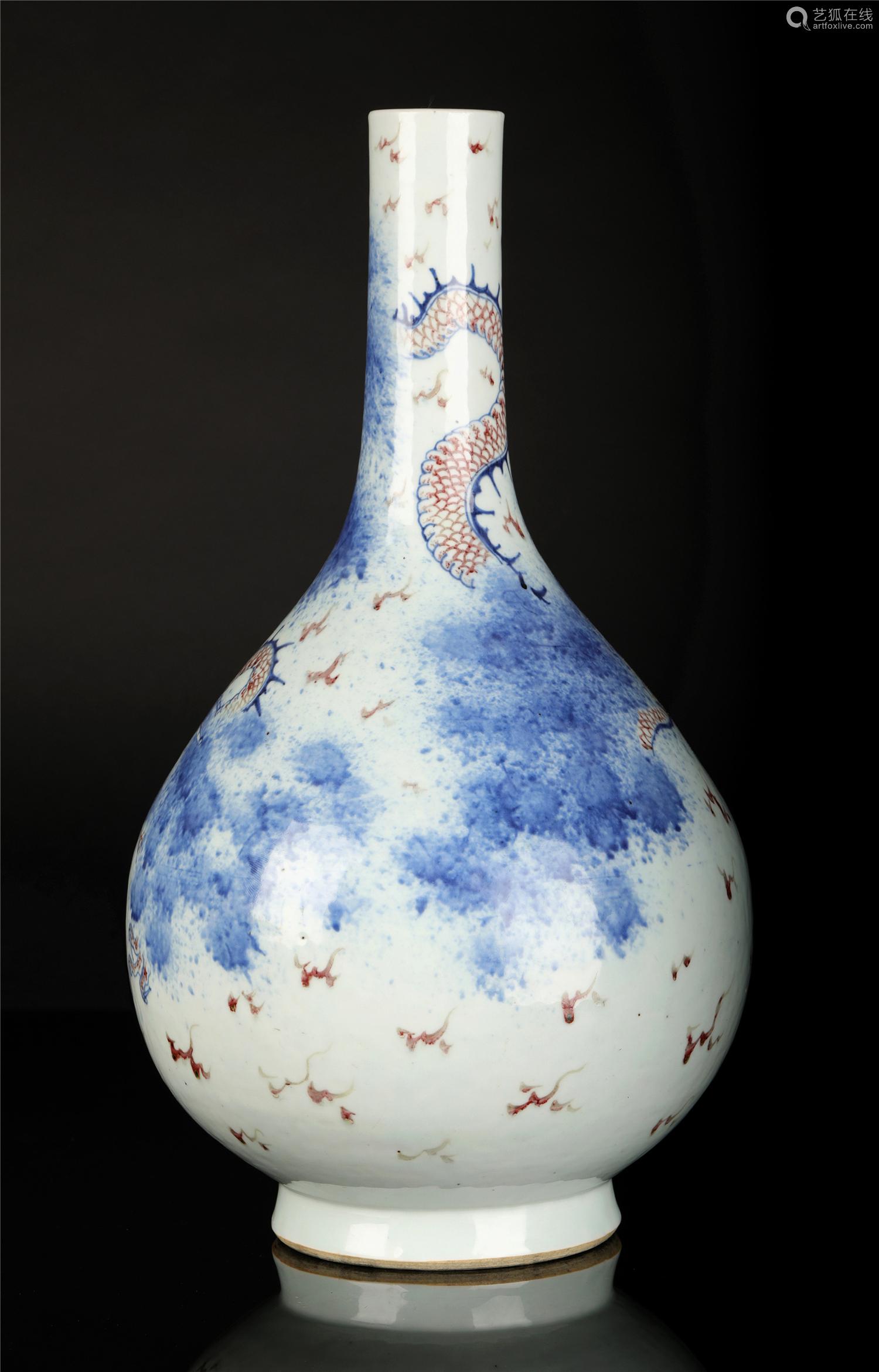清 青花釉里红龙纹胆瓶