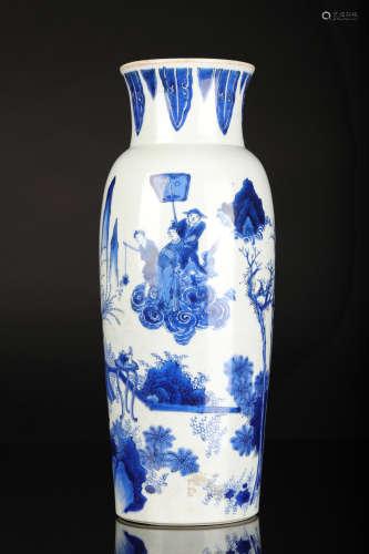 崇祯 青花人物筒瓶