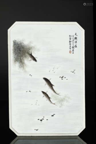 民国 邓碧珊款瓷板