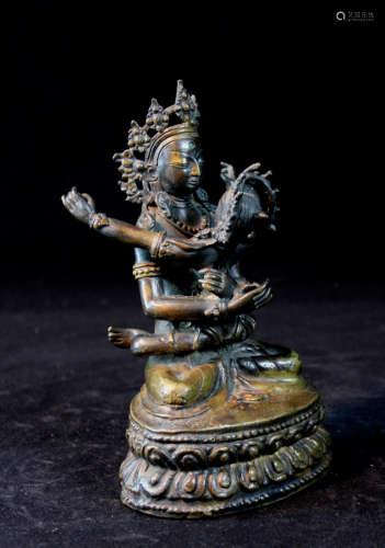 Nepalese Bronze Tara Embracing Each Other