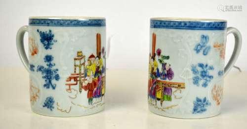 Pair Chinese Famille Rose  Mugs