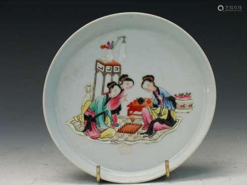 Chinese famille rose porcelain plate, Yongzheng mark.