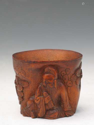Chinese carved bamboo cup.