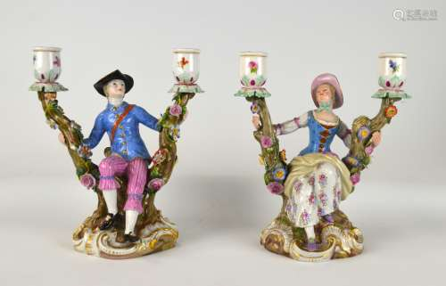 Pair Meissen Figural Candle Stick Holders