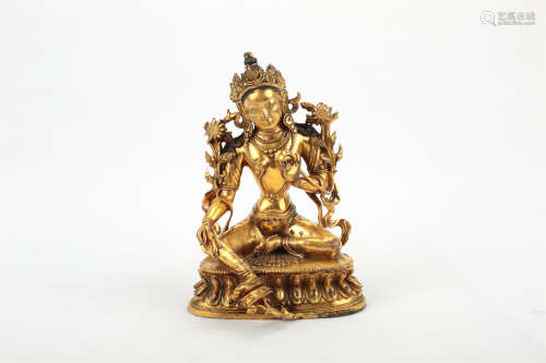 A Chinese Gilt Bronze Guanyin