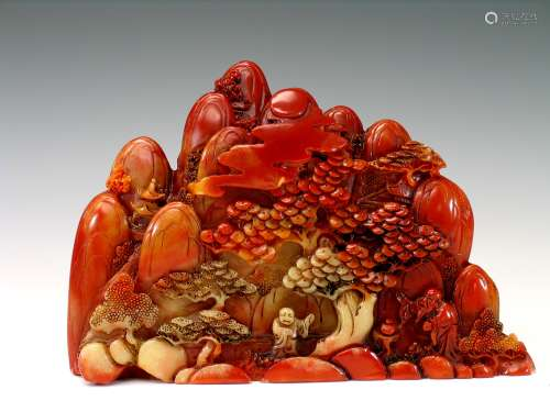 Carved Chinese soapstone boulder