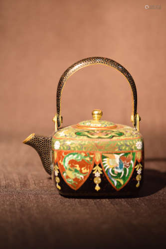 Japanese Cloisonne Teapot - Inaba