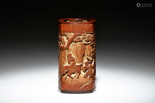 ZHI RUO: BAMBOO RELIEF CARVED BRUSH POT