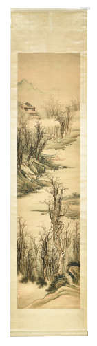 FANG ZONG: INK AND COLOR ON PAPER PAINTING 'LANDSCAPE SCENERY'