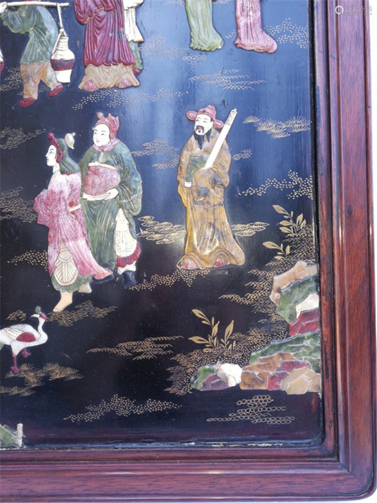 Qing ROC Chinese Lacqure Inlaid Treasure Hanging Screen