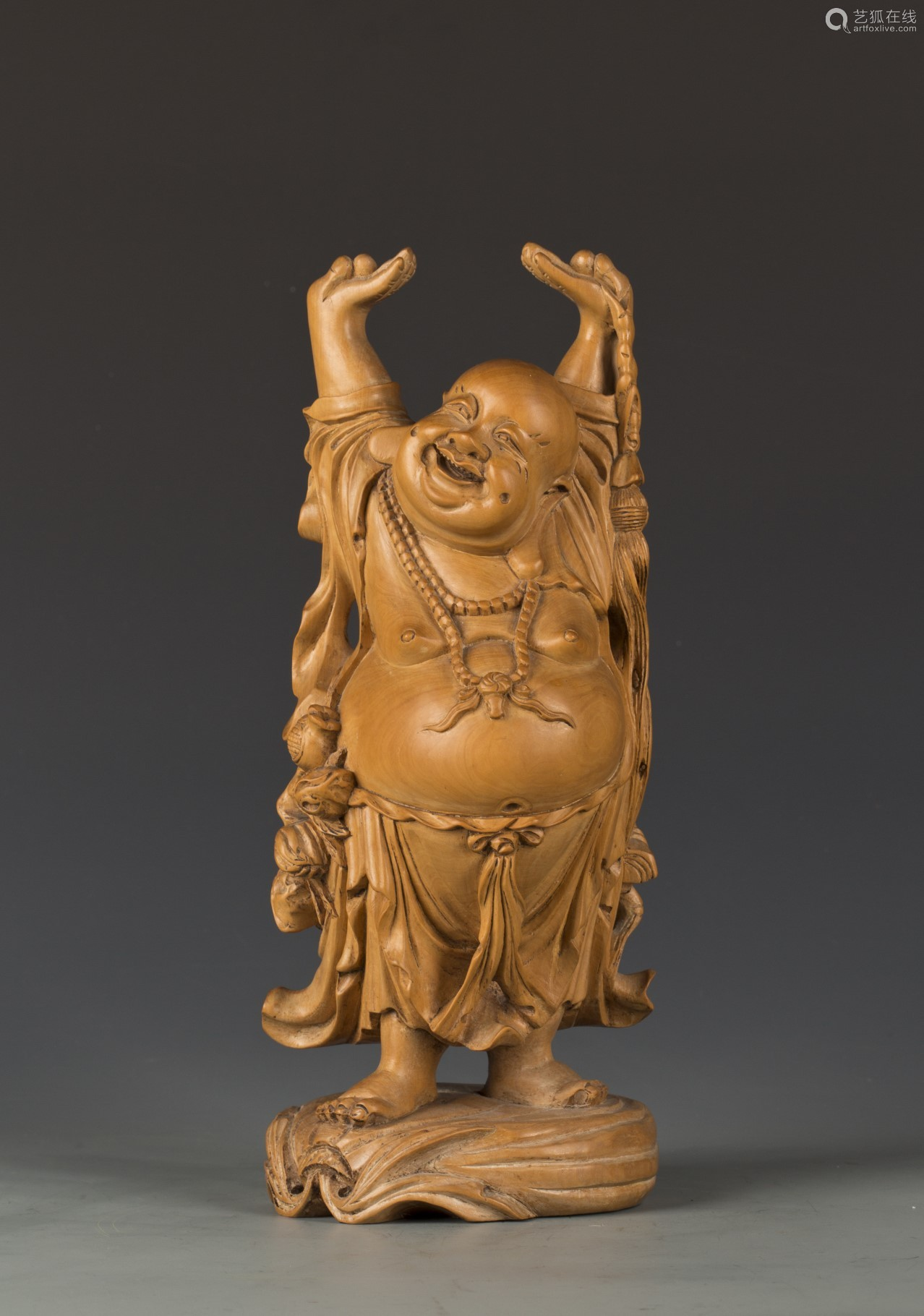 A boxwood maitreya sculpture-artfoxlive
