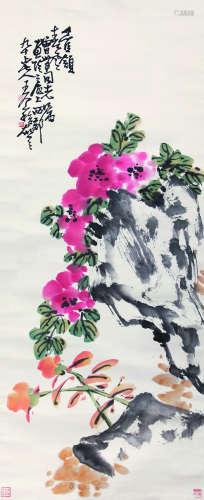 王个簃 花卉 立轴 纸本