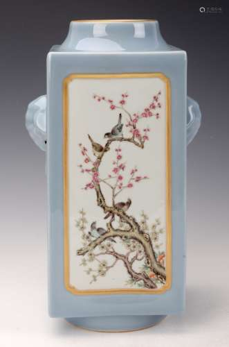 Chinese Blue Ground Famille Rose Square Vase