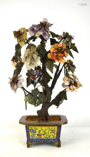 Chinese Stone Tree with Cloisonne Planter