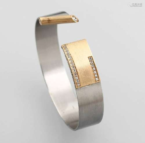 Bangle with brilliants, YG 750/000 and Pt 950/000
