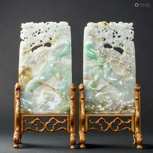 A PAIR OF JADEITE PLAQUES, EARLY 20TH CENTURY