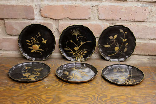 Japanese Lacquer Dishes with Insect - signed - Museum Collection