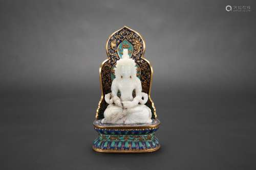 A Chinese Carved Jade Buddha with Cloisonné Base