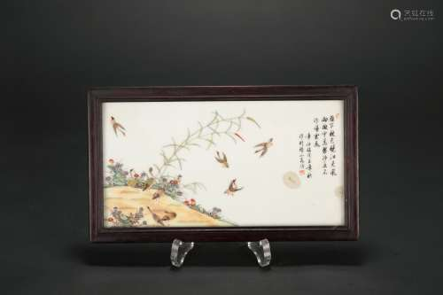 A Chinese Famille-Rose Porcelain Plaque