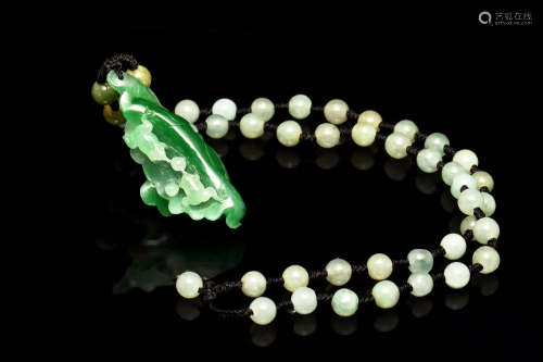 JADEITE FROGS ON LOTUS NECKLACE WITH GIA CERTIFICATE