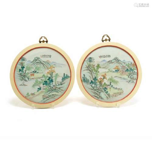 Pair of Enameled Circular Porcelain Plaques, Early 20th