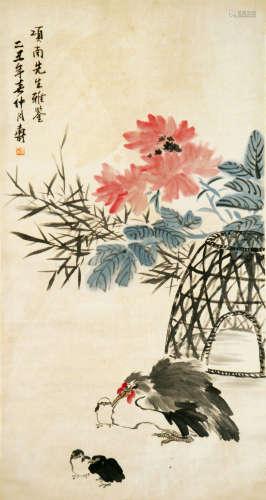 潘天寿 花卉 设色纸本立轴