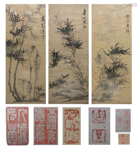 清 竹石图 水墨纸本2条屏