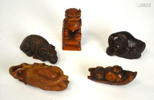 Five Japanese Wood Netsuke