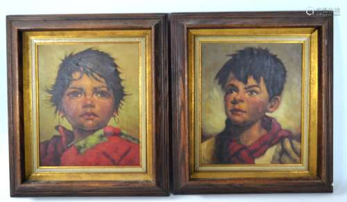 Pair Oil Painting Portrait of a Boy and Girl