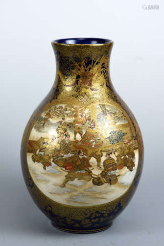 Japanese Satsuma Vase of Samurai Scene by Kinkozan