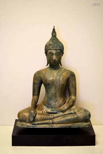 Large Thai Bronze Seated Bronze Buddha