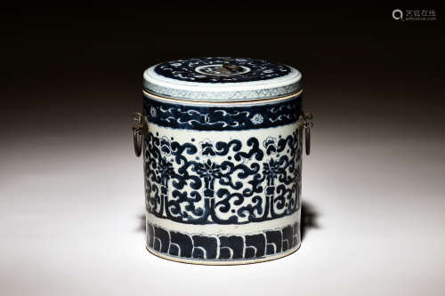 BLUE AND WHITE 'FLOWERS AND VINES' TEA JAR WITH COVER