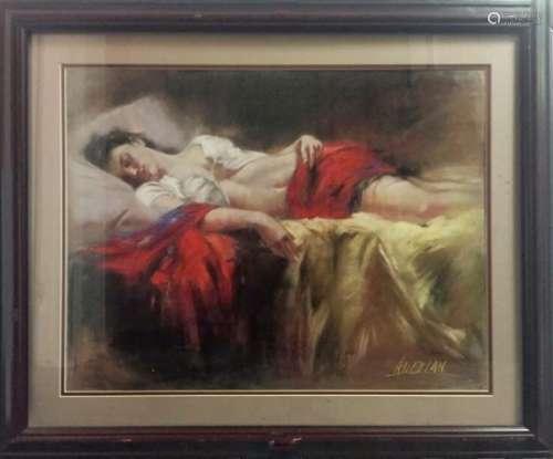 An Oil Painting Of A Sleeping Women