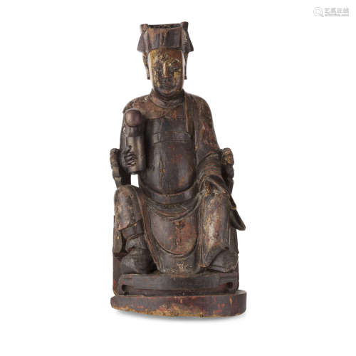 PAINTED WOOD FIGURE OF AN OFFICIAL