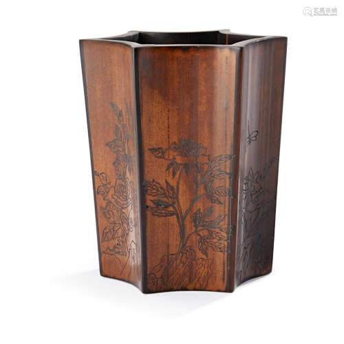 INCISED FACETED WOOD BRUSHPOT