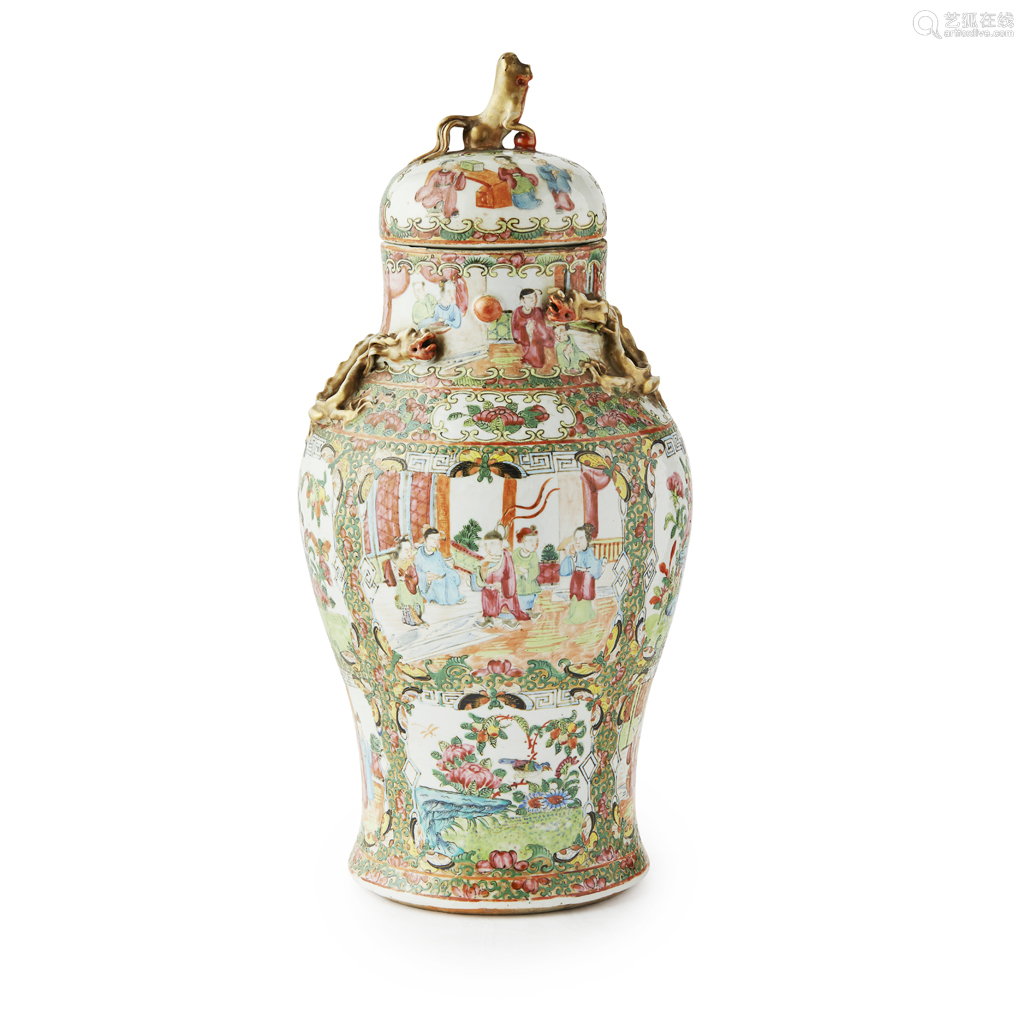 CANTON FAMILLE ROSE BALUSTER JAR AND COVER