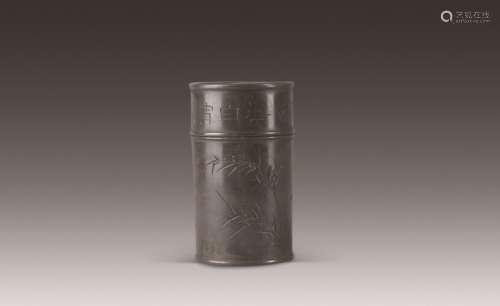 清 小松款锡制茶叶罐 (一件)