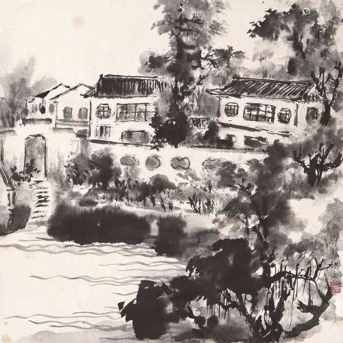 唐云(1910~1993) 半溪酒家 立轴 水墨纸本