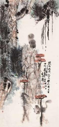 蔡从之  富华画 题 松鼠灵芝 镜心 设色纸本